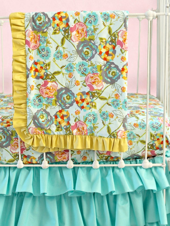 Bumperless baby bedding custom baby girl bedding with mustard Baby girl bedding