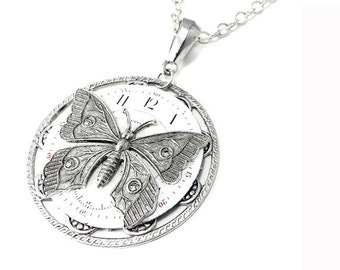 Steampunk Jewelry Silver Time Flies Antique Pocket Watch Face Pendant with Silver Victorian Butterfly - ON SALE