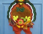 Turkey Thanksgiving Door or Wall Wreath Decoration Fall Autumn Harvest FREE SHIPPING Next Business Day