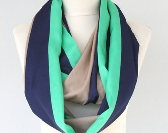 Infinity scarf navy blue and green striped scarf tube scarf circle scarf summer scarves for women fashion accessories gift ideas for her