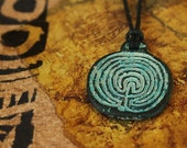 1 Rustic Tribal Labryinth Disk in Green Patina -  Design from Greek Coin -  LD-GP