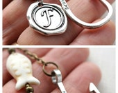 Monogram Keychain, Personalized Keychain, Hooked on you, Gone Fishing, Wax Seal, White or Blue Turquoise, Men's Accessories or Womens