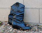 Vintage 1980's Black Leather Slouch Boots