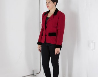 ON SALE Red Wool Long Sleeve Jacket / Retro Bold Blazer / Vintage Velvet Collar Jacket