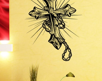 Vinyl Wall Decal Sticker Rosary Cross 5457m