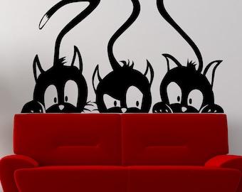 Vinyl Wall Art Decal Sticker Three Peeking Cats 5473m