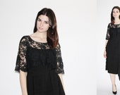 1930s Black Chantilly Lace Dress  - 30s Black Cocktail Dress  -  The Nights in Barcelona Dress - 8078
