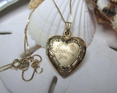 14k Yellow Gold Heart Locket 1 inch w 14k Box Chain 3.9 grams