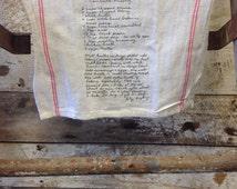 BULK Shipping 20+ Same Print Double Red Stripe Personalized Tea Towel 22x13 // Recipe Tea Towel // // Your Art on a tea towel