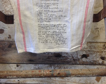 Family Recipe Tea Towel // Custom printed Tea Towel // Your Art on a tea towel // Double Red Stripe Personalized Tea Towel 22x13