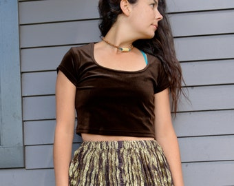 Adorable Vintage 90s VELVET Brown CROP Top Dark Chocolate Brown Grunge