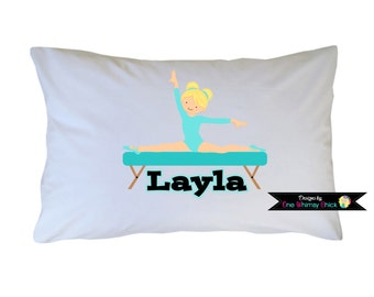 Gymnastics Pillowcase - Girl Gymnastics Pillow case - Girls Personalized Pillowcase
