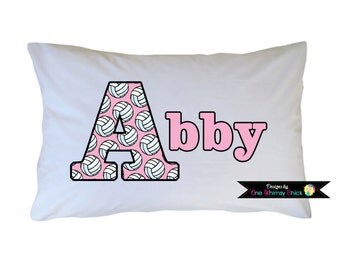 Volleyball Personalized Pillow Case - All Sports Available - Travel or Standard Size
