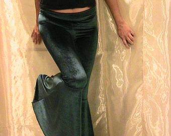 ATS, Tribal, Festival and Flamenco Flare Pants in deep Green Velvet