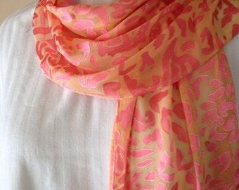 Salmon pink and orange yellow burnout no fringe silk scarf