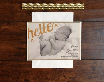 Gold Glitter Baby Girl Photo Birth Announcement, Printable Bohemian Gold Hello Birth Announcement, Calligraphy and Hearts