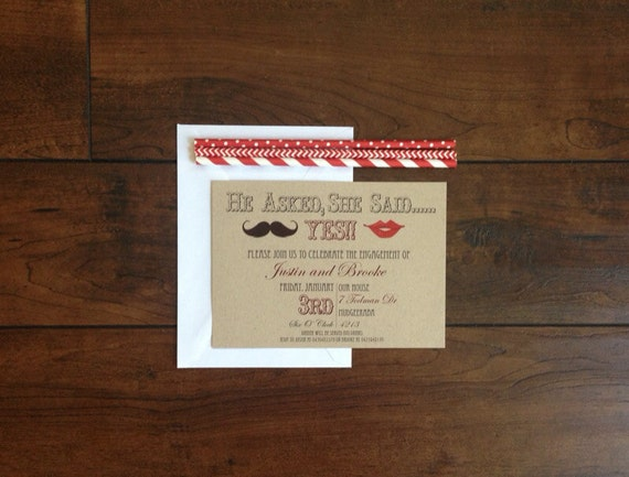 Mustache&Lips Engagement Party Invite