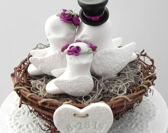 Rustic Family Love Birds, Wedding Cake Topper, White and Sangria, Love Birds in Nest , Personalized Heart