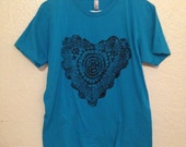 My Black Heart, Upcycled top, hand printed, american apparel Mens M