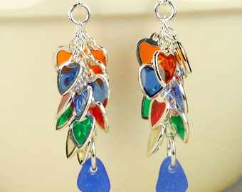 GENUINE Cobalt Blue Sea Glass Earrings Eco Friendly Sterling Silver Rainbow Heart Jewelry