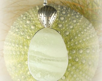 GENUINE Eco Friendly Statement Jewelry White Santa Cruz Sea Glass Necklace With Fine Silver Shell Wire Wrapped