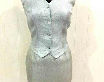 vintage mod metallic skirt set - 1960s mod lame' vest/skirt suit