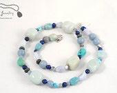 Soft Blues Multi Gemstone Beaded Necklace  -
