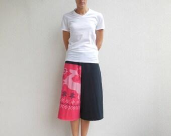 Womens Cropped Pants T Shirt Pants Tee Capris Drawstring Pants Recycled Capris Upcycled Fashion Cotton Pants Handmade Pants ohzie