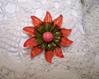 Vintage Orange & Green Flower Enamel Brooch Unique Daisy Jewelry VTG Autumn Fall Fashion Accessory Pin 60s or 70s style