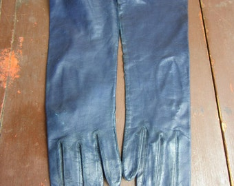 Vintage Navy kid leather Opera Gloves New Old stock 1960s Fownes