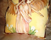 Reserved for Cathy - Angel Statue Hand Painted Pillow w/ decorative Gold Ribbon 14x14 Home Accent - Art Pillow