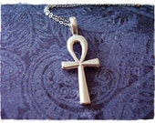 Large Silver Ankh Necklace - Sterling Silver Ankh Charm on a Delicate Sterling Silver Cable Chain or Charm Only