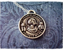 Silver St Francis of Assisi Necklace - Sterling Silver St Francis of Assisi Charm on a Delicate Sterling Silver Cable Chain or Charm Only