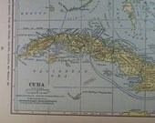 Map of Cuba, including the Florida Keys, the Caymans & the Bahamas - 1929  Map - lovely pastel yellow color