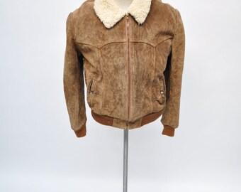 vintage suede leather jacket mens ranch coat western rancher pioneer wear
