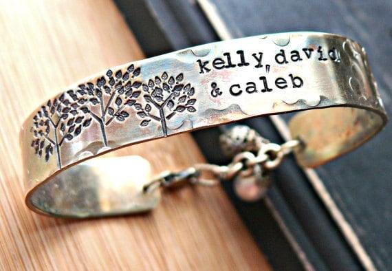Family Trees Personalized Bracelet - Personalized Bracelet - Brass Tree Cuff Bracelet - Hand Stamped Tree Bracelet