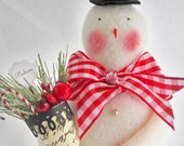 Larger Beautiful and Unique Handmade Snowman Christmas Decoration with Red Checked Bow