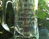 custom for Cwood - Hand Engraved Mug - Celebration Glass - etched personalized gift memento - 12 or more words of your choice