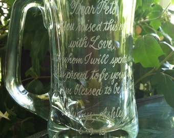 Hand Engraved Mug - Celebration Glass - etched personalized gift memento - 12 or more words of your choice