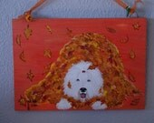 Playing in the Leaves - Old English Sheepdog painting