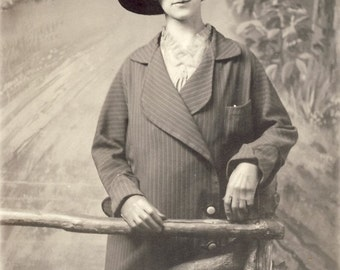 Woman In FANCY FEATHER Tipped HAT Photo Postcard 1915