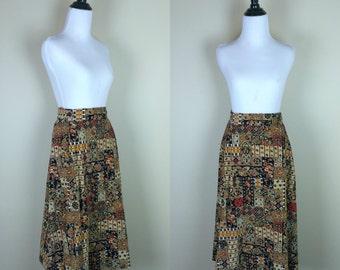 70s Corduroy Skirt / 1980s High Waist Skirt / 1970s Brown Print Floral Skirt L XL
