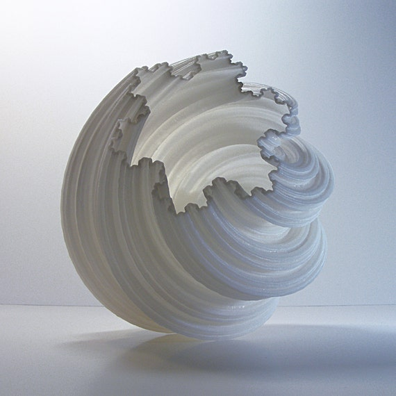 3D Printed Vase, Extra Blissful Spiral Koch Fractal, Modern Art Vase,  Vessel for Interior Design, Desk Accessories, Centerpieces