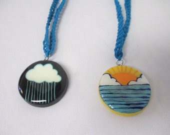 Sun or Rain Cloud OOAK Clay Pendant Turquoise Hemp Necklace  - You Choose One (1)