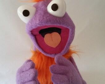 FUZZBRAINS handmade puppets by David Stephens (lavender/orange)