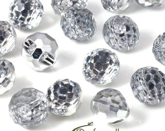 Acrylic rhinestone buttons - crystal - set of 20 buttons - J005-01