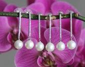 Set of 2-10 bridesmaid earrings, cz earrings, wedding jewelry, bridal jewelry, wedding earrings, bridal earrings, bridesmaid earrings
