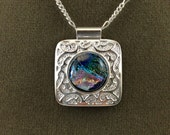 Silver Plated Fancy Filigree Colorful Fused Glass Dichroic Necklace NE045