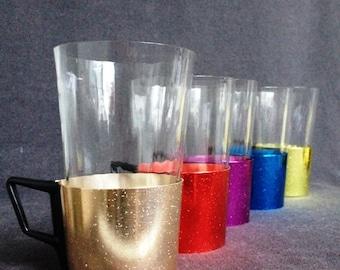 Vintage multicolor glasses. Collection of five fun retro colors.