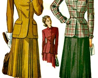 1940s Vintage Suit Pattern  SIMPLICITY 2151  1947 Tailored Suit with Pleated Skirt   UNCUT Factory Folded  Bust 32